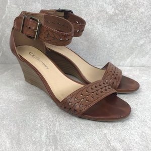 CL by Chinese Laundry Cognac Wedge Sandal Size 7